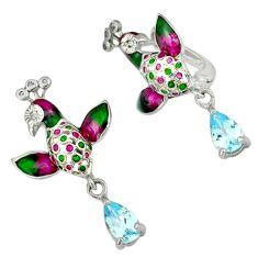 Natural blue topaz enamel 925 sterling silver birds charm earrings c16957