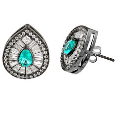 Natural blue topaz topaz 925 sterling silver earrings jewelry c20134