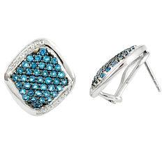 Natural blue topaz white topaz 925 sterling silver stud earrings c20681