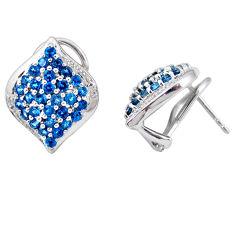 Natural blue topaz white topaz 925 sterling silver stud earrings c20685