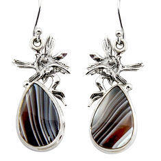 14.81cts natural botswana agate 925 silver angel wings fairy earrings r45323