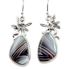18.91cts natural botswana agate 925 silver angel wings fairy earrings r45326