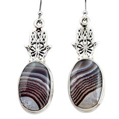 19.41cts natural botswana agate 925 silver hand of god hamsa earrings r45325