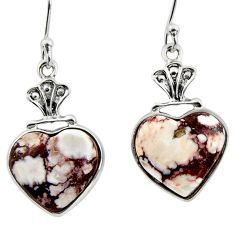8.42cts natural bronze wild horse magnesite 925 silver dangle earrings r46781