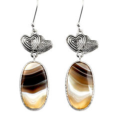 Clearance Sale- 18.28cts natural brown botswana agate 925 silver couple hearts earrings d39616