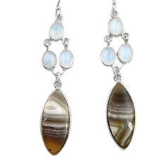 20.94cts natural brown botswana agate 925 silver dangle earrings d45743