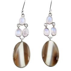 25.86cts natural brown botswana agate 925 silver dangle earrings jewelry d39685