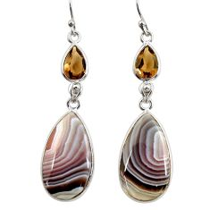 19.29cts natural brown botswana agate 925 silver dangle earrings r28989