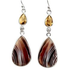 19.68cts natural brown botswana agate 925 silver dangle earrings r28991