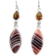 18.62cts natural brown botswana agate 925 silver dangle earrings r28992