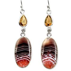 19.12cts natural brown botswana agate 925 silver dangle earrings r28993