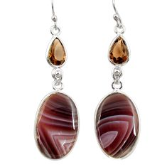 17.53cts natural brown botswana agate 925 silver dangle earrings r28995