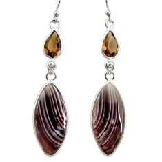 16.88cts natural brown botswana agate 925 silver dangle earrings r28996