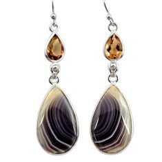 19.12cts natural brown botswana agate 925 silver dangle earrings r28998
