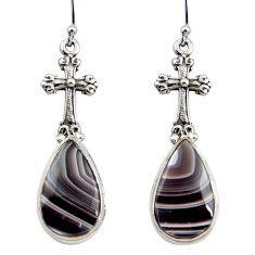 17.62cts natural brown botswana agate 925 silver holy cross earrings r45329