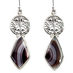 21.79cts natural brown botswana agate 925 silver tree of life earrings r45330