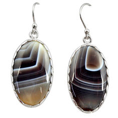 19.29cts natural brown botswana agate 925 sterling silver dangle earrings r28983