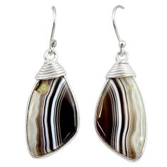 13.61cts natural brown botswana agate 925 sterling silver dangle earrings r28985