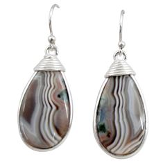 16.88cts natural brown botswana agate 925 sterling silver dangle earrings r28986