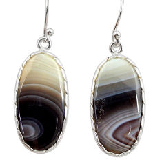 15.32cts natural brown botswana agate 925 sterling silver dangle earrings r28988
