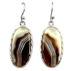 15.88cts natural brown botswana agate 925 sterling silver dangle earrings r28999