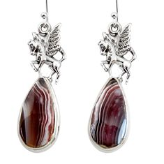 20.15cts natural brown botswana agate 925 sterling silver dangle earrings r45322