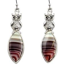 19.46cts natural brown botswana agate 925 sterling silver owl earrings r45321