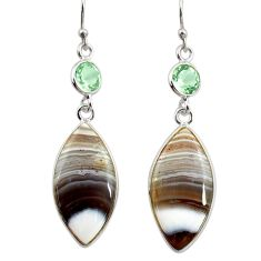 16.49cts natural brown botswana agate amethyst 925 silver dangle earrings r28981