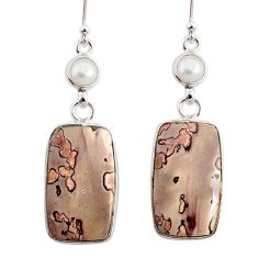 16.04cts natural brown coffee bean jasper pearl 925 silver earrings r75741