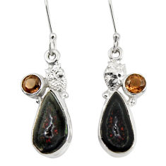 Clearance Sale- 10.37cts natural brown geode druzy smoky topaz 925 silver owl earrings d40441