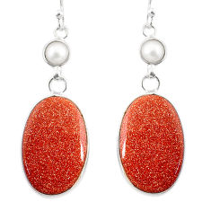 19.09cts natural brown goldstone pearl 925 silver dangle earrings jewelry r75539