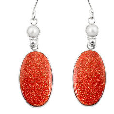 20.40cts natural brown goldstone pearl 925 silver dangle earrings r75535