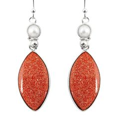 19.73cts natural brown goldstone pearl 925 silver dangle earrings r75537