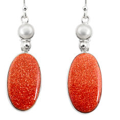 18.39cts natural brown goldstone pearl 925 silver dangle earrings r75542