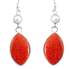 16.71cts natural brown goldstone pearl 925 silver dangle earrings r75547