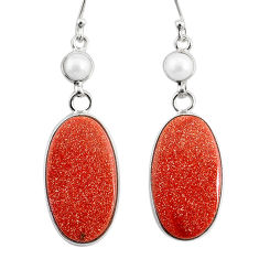 18.39cts natural brown goldstone pearl 925 silver dangle earrings r75549