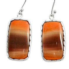 19.40cts natural brown imperial jasper 925 silver dangle earrings r28831