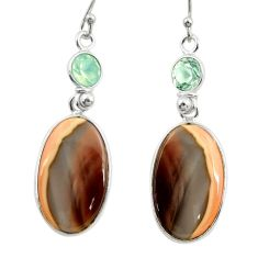 17.08cts natural brown imperial jasper 925 silver dangle earrings r28833