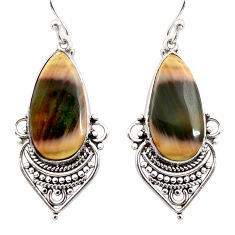 17.22cts natural brown imperial jasper 925 silver dangle earrings r30304