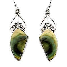 15.41cts natural brown imperial jasper 925 silver dangle earrings r44945
