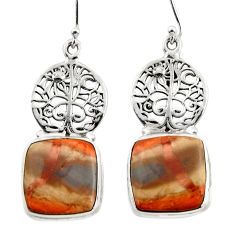 24.14cts natural brown imperial jasper 925 silver tree of life earrings r45348