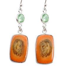 15.46cts natural brown imperial jasper amethyst 925 silver earrings r75762