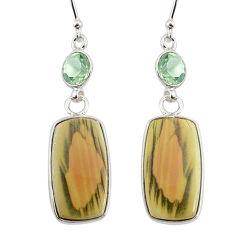 15.34cts natural brown imperial jasper amethyst 925 silver earrings r75781