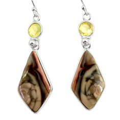 18.15cts natural brown imperial jasper citrine 925 silver dangle earrings r28821