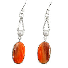 Clearance Sale- 13.08cts natural brown imperial jasper pearl 925 silver dangle earrings d39565