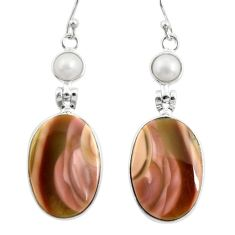 21.66cts natural brown imperial jasper pearl 925 silver dangle earrings r28822