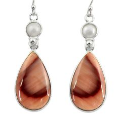 19.81cts natural brown imperial jasper pearl 925 silver dangle earrings r28823