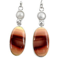 18.65cts natural brown imperial jasper pearl 925 silver dangle earrings r28829