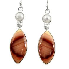 19.40cts natural brown imperial jasper pearl 925 silver dangle earrings r28832