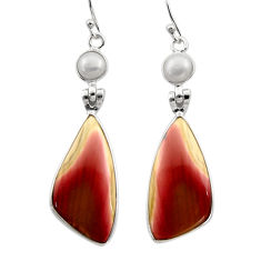 17.53cts natural brown imperial jasper pearl 925 silver dangle earrings r30473